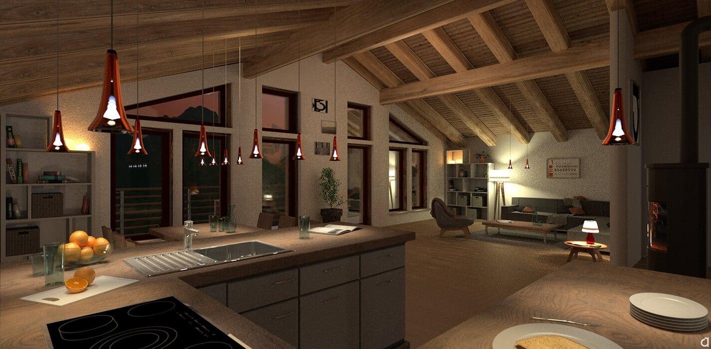 3D Visualisierung – Dachwohnung Abend