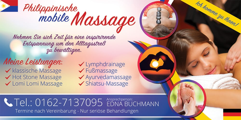 Philippinische Mobile Massage Flyer