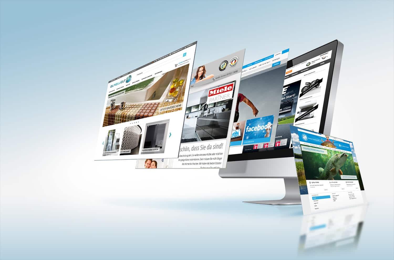 Webdesign Referenzen werden auf einem Monitor gezeigt